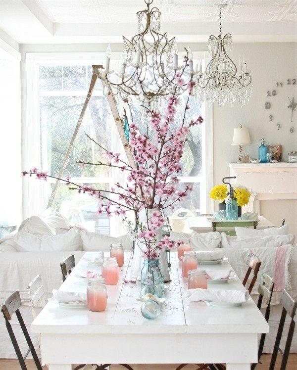 shabby chic comedor blanco flores rosa