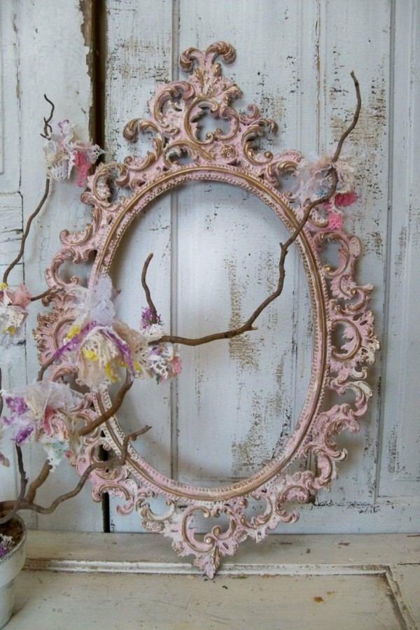 shabby decoración marco espejo rosa