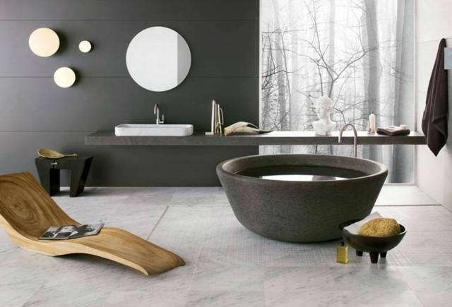 silla larga madera natural espejo redondo tina amplio