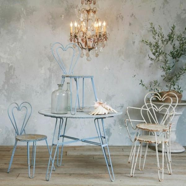 sillas mesa metal azul shabby