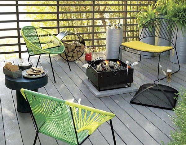 sillas tejidas terraza madera metal jardin