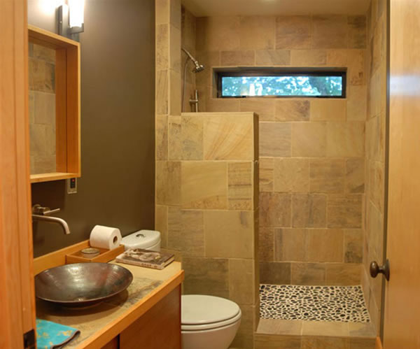 simple decoracion baño estrecho piedras rustico