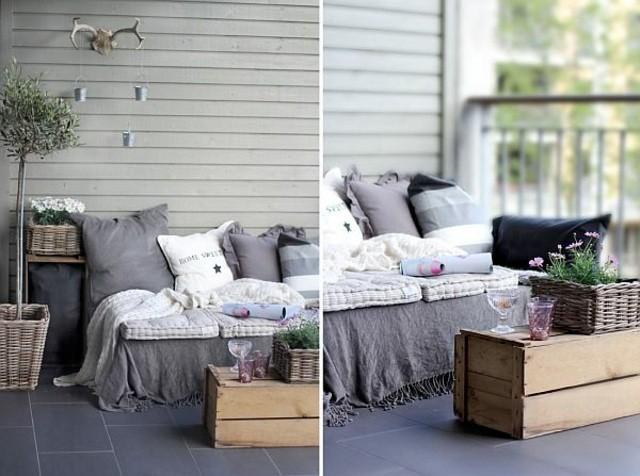 sofa cojines exterior plantas macetas