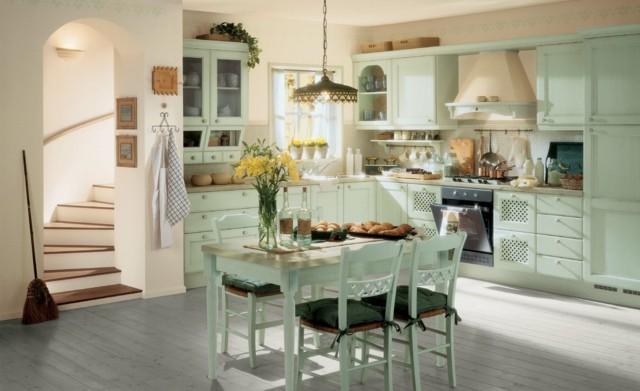 suelo laminas madera verde claro area comer bonita cocina