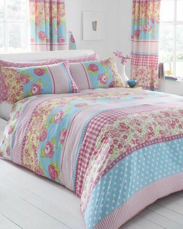 suelo pared colores blancos ropa cama motivos bonito florales
