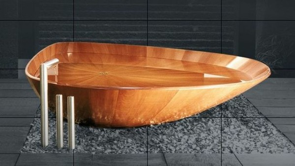 super bañera forma abstracta madera