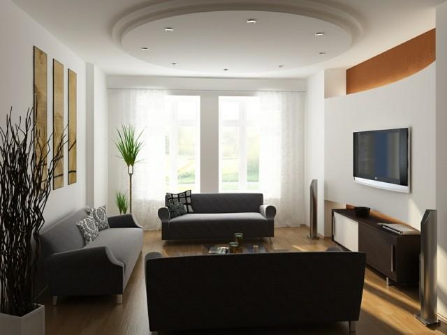 techo niveles diseño muebles negros salon descanso
