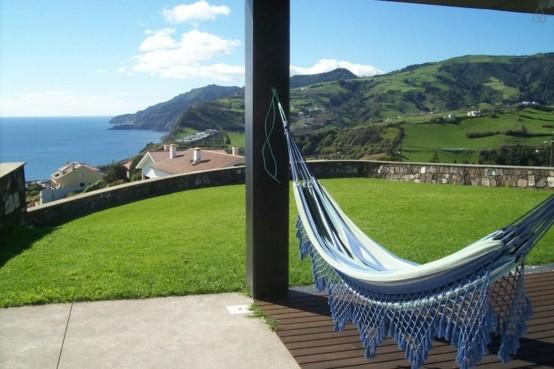 tejida hamacas azul techada cuerdas terraza