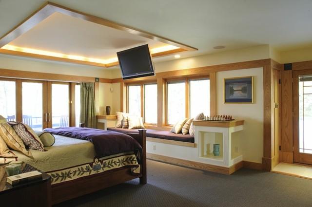 televisor madera luces moderno ventanas
