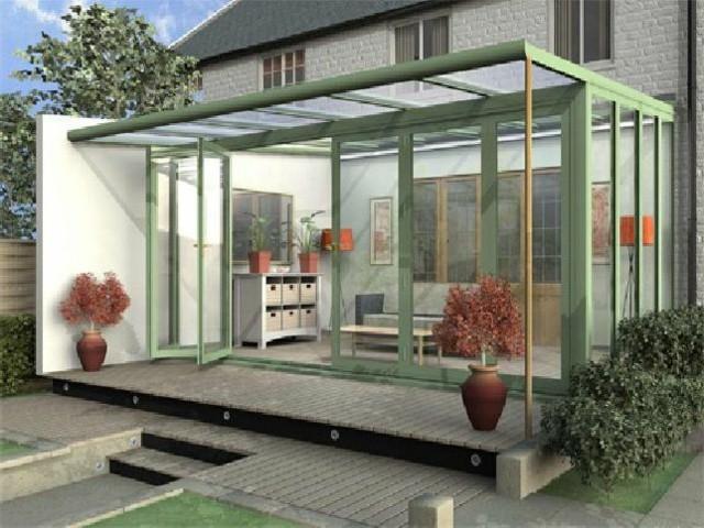 terraza acristalada estilo minimalista moderno
