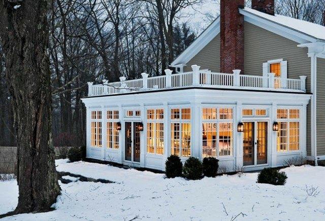 terraza acristalada invierno nieve blanca