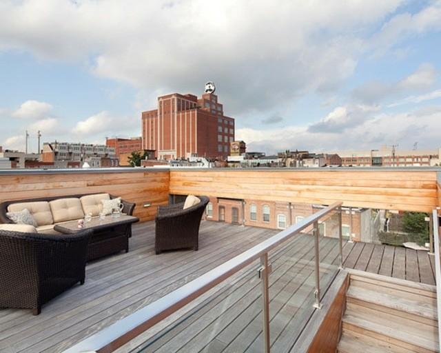 terraza decoración muebles cojines sofa