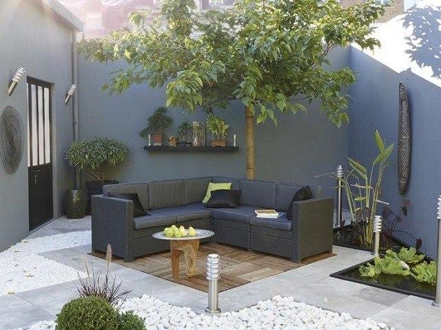 terraza madera patio diseño xeriscape moderno