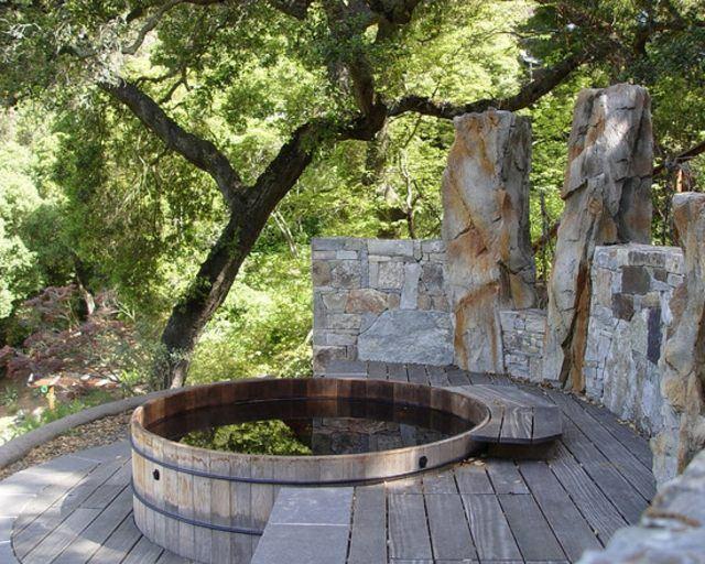 terraza rustica decoración patio rocas