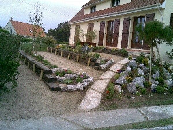 terrazas elevacion diseño rocas jardines