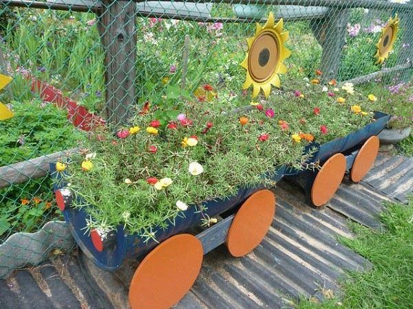 tren plantas decoracion ruedas