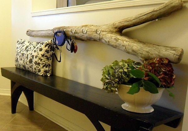 tronco decorativo perchero madera pasillo