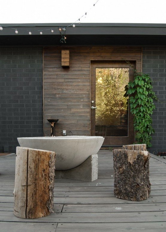 troncos madera bañera rústica piso estilo ideas