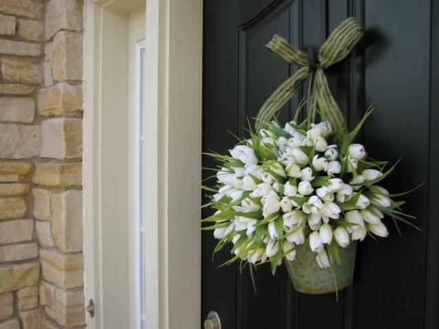 tulipanes blancos puerta casa ideas delantera primavera