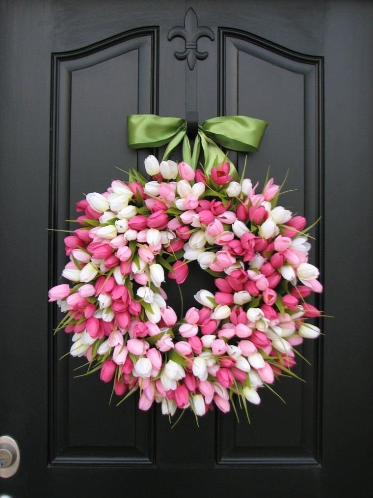 tulipanes rosa blanco moderno puerta guirnalda primavera