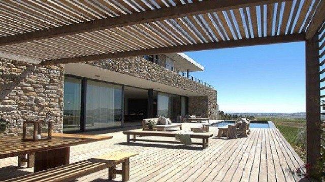 tumbona techo plantas madera terraza