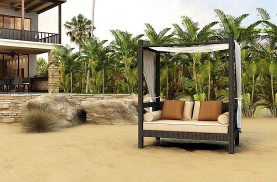 tumbonas playas palmeras cojines techada madera
