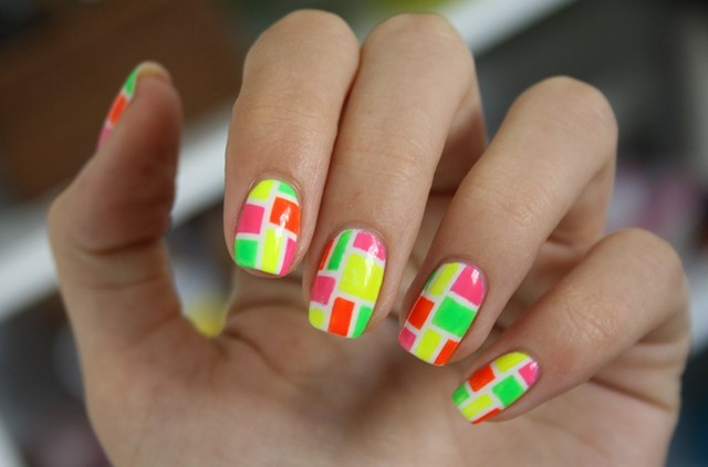uñas decoradas ideas moderna verano multicolor