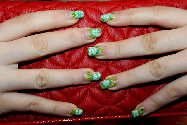 uñas motivos florales azul verde decoracion bonito