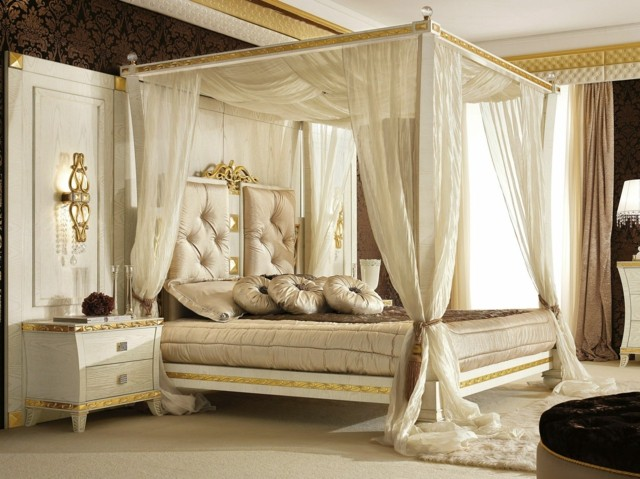 unico idea cama dosel dormitorio romantico oro