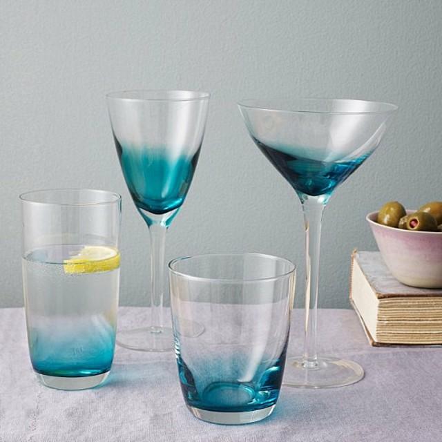 vajillas vasos crista azul perfectos mesa