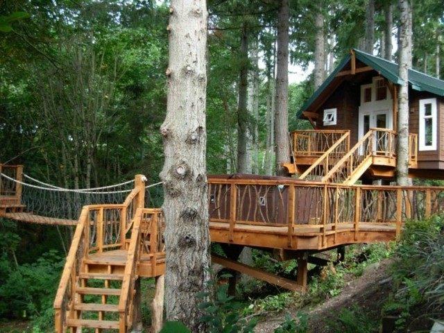 valla baranda casa arbol madera