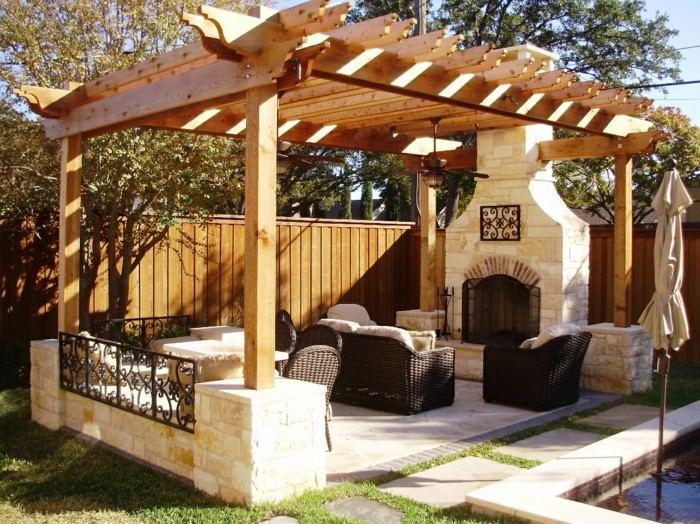 valla cerca porche madera chimenea