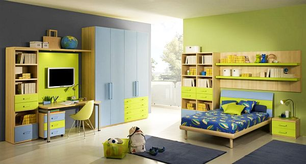 verde azul habitacion juvenil amplia luminosa