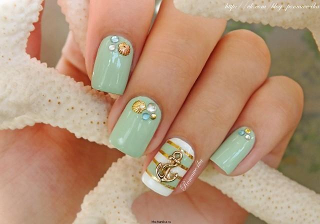 verde azulado claro uñas bonitas marineras