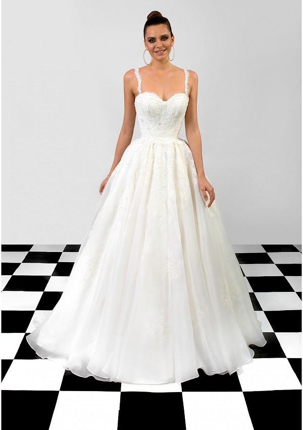 vestido estilo femenino organza tafta blanco Angela