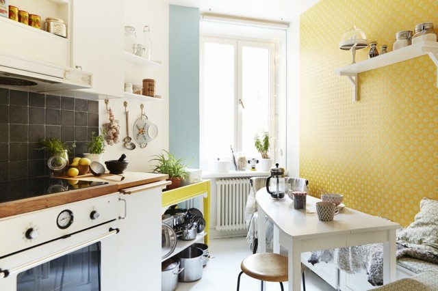 vintage cocina pared papel amarillo bonita retro
