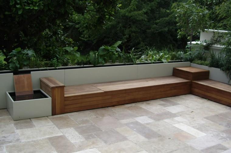 Madera de teca para los muebles de jard n for Bancos para terraza y jardin
