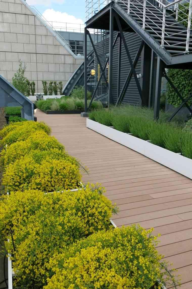 Matthew Bell jardin urbano diseno camino madera macetas blancas ideas