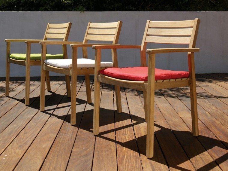 sillas jardín teca colores distintos