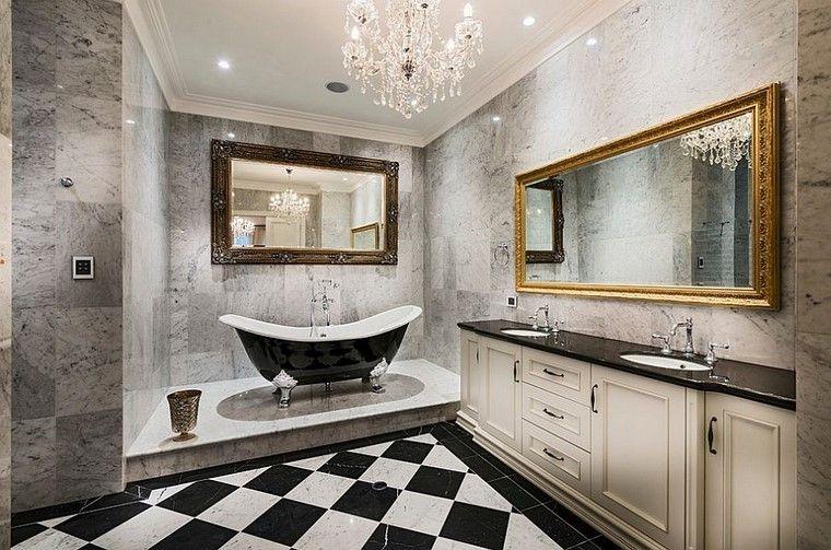 accesorios baño lamparas espejos blanco negro ideas
