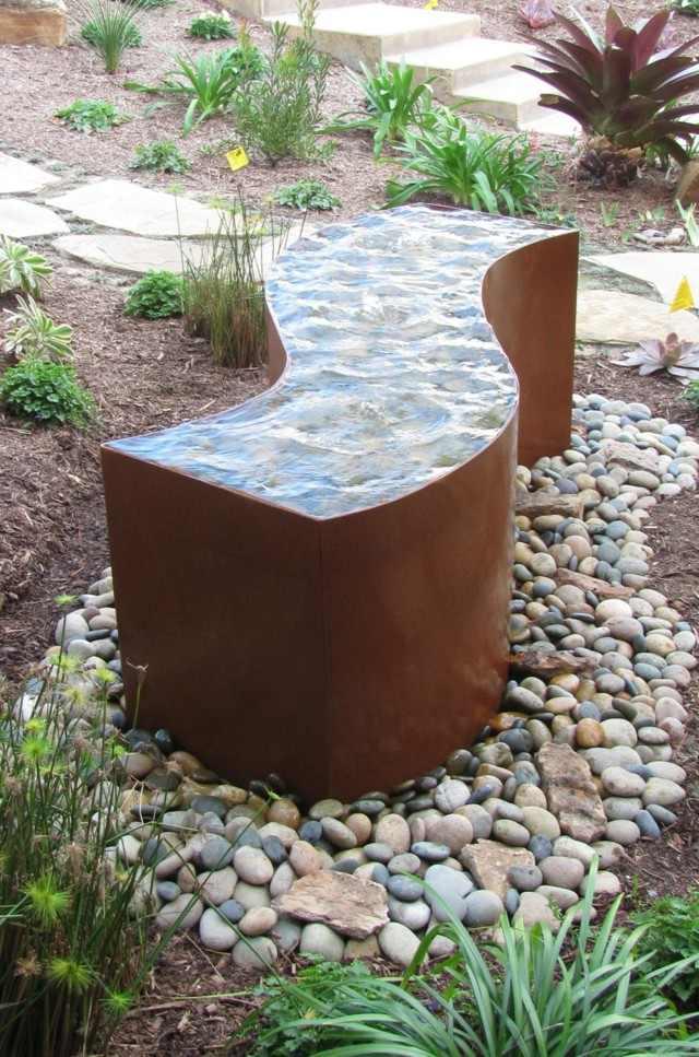 acero agua rocas jardin plnatas moderno