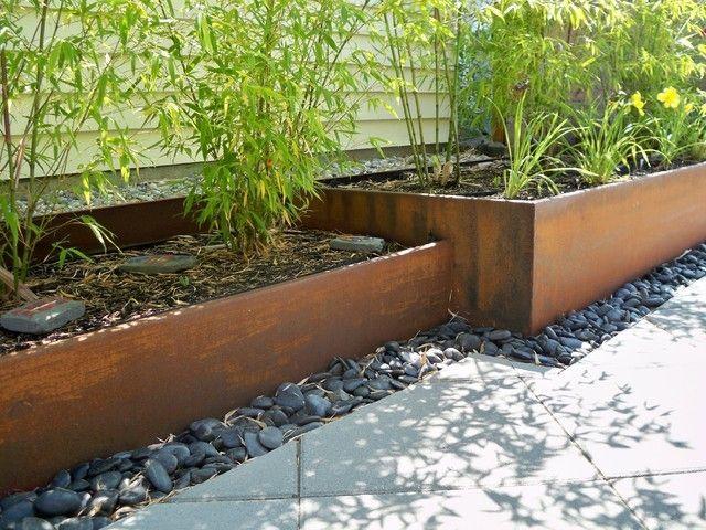 acero corten bambu rocas jardineras rocas