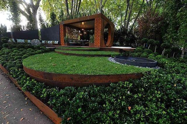 acero corten bordura jardin moderno