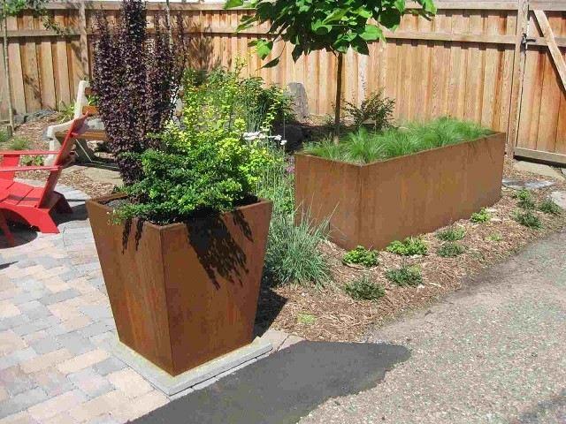 acero corten jardinera plantas patio jardin