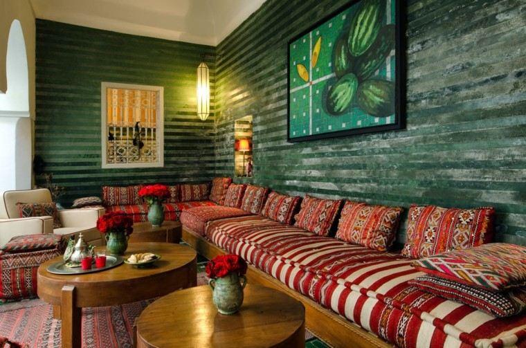alfombras rojos vibrantes cojines ideas original marroqui