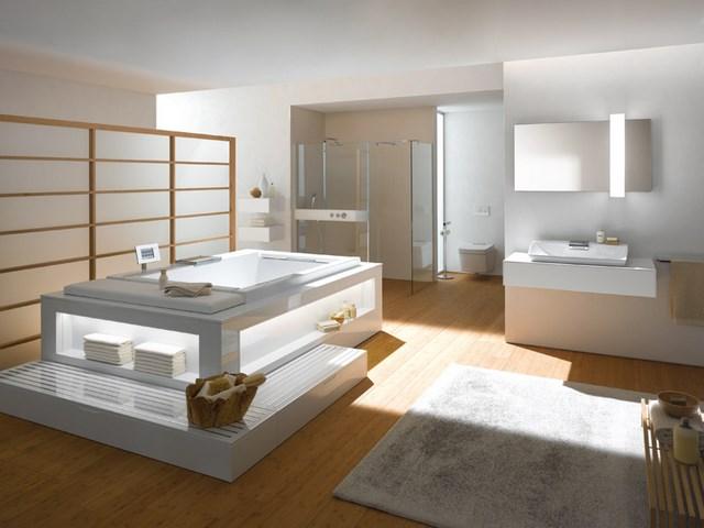 amplio bañera alfombra luces moderno