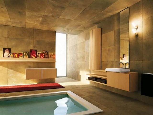 amplio calido baño cuadros lamparas pared