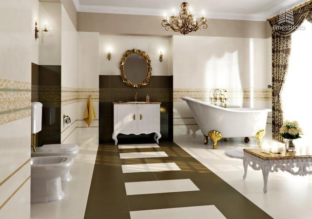 amplio elegante baño espejo dorado lujo