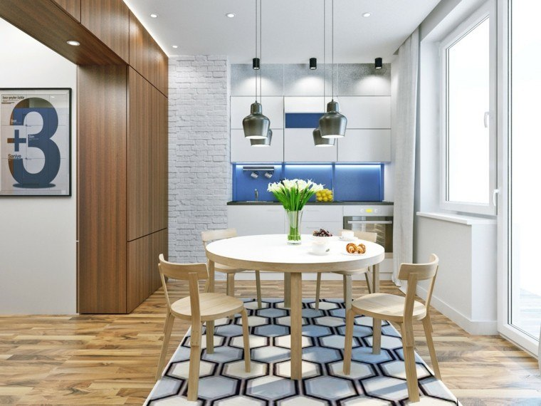 apartamentos pequenos cocinas mesa redonda diseño comer