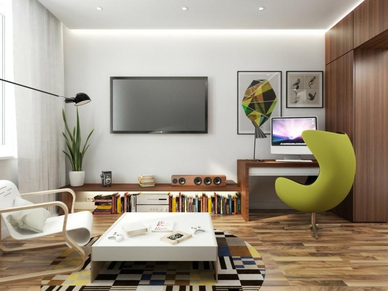 apartamentos-pequenos-silla-escritorio-verde-ideas